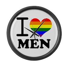 Gay Pride - I love men Large Wall Clock