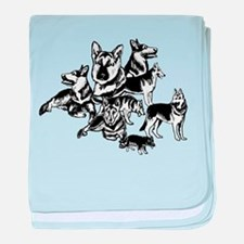 GSD Black and White collage baby blanket