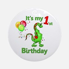1st Birthday Dinosaur Ornament (Round)