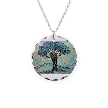 Tree, Colorful, Necklace Circle Charm