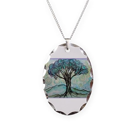 Tree, Colorful, Necklace Oval Charm