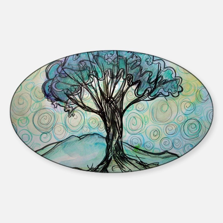 Tree, Colorful, Sticker (Oval)