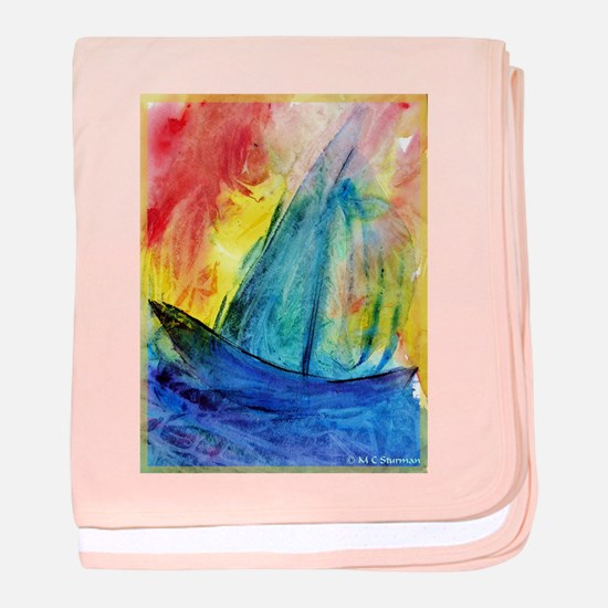 Sailboat, colorful, baby blanket
