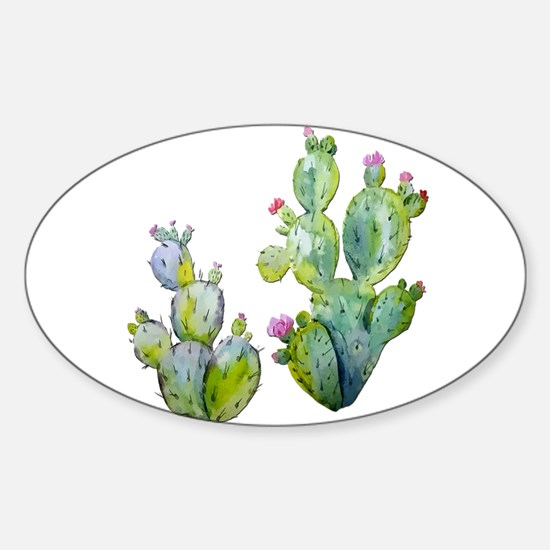 Blooming Watercolor Prickly Pear Cactus Decal