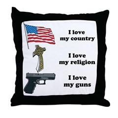 Country, Religion and Guns Throw Pillow