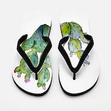 Blooming Watercolor Prickly Pear Cactus Flip Flops