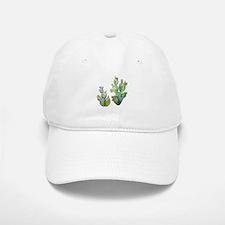 Blooming Watercolor Prickly Pear Cactus Cap