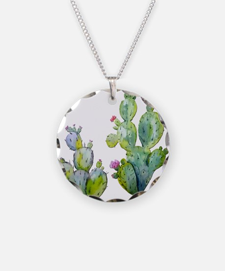 Blooming Watercolor Prickly Necklace Circle Charm