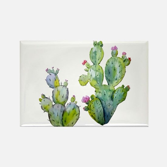 Blooming Watercolor Prickly Pear Cactus Magnets
