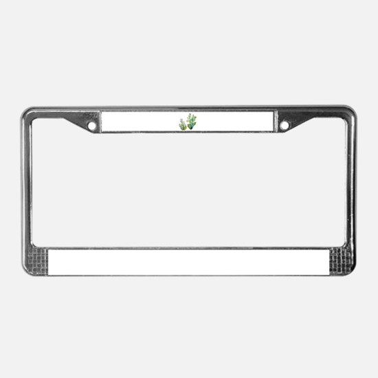 Blooming Watercolor Prickly Pe License Plate Frame