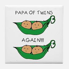 Papa of Twins Again Tile Coaster