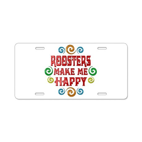 Rooster Happiness Aluminum License Plate