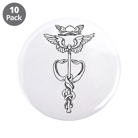 "Hermetic Caduceus Symbol 3.5"" Button (10 pack)"