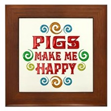 Pig Happiness Framed Tile