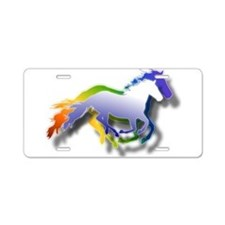 3D Running Horses Aluminum License Plate