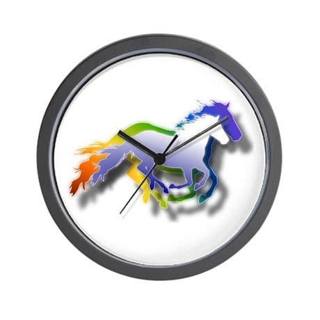 3D Running Horses Wall Clock