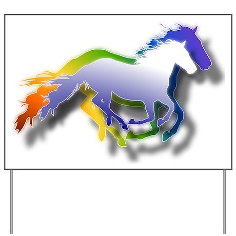 3D Running Horses Yard Sign