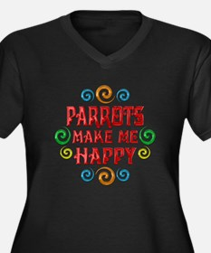 Parrot Happiness Women's Plus Size V-Neck Dark T-S