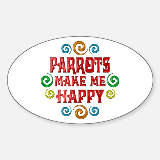 Parrot Happiness Sticker (Oval)