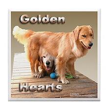 Golden Retreiver Tile Coaster Mocha