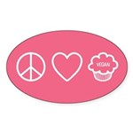 Peace, Love &Amp; Vegan Cupcakes Sticker (Oval 50