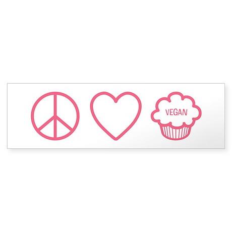 Peace, Love & Vegan Cupcakes Sticker (Bumper 5