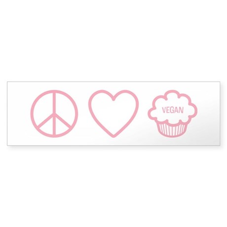 Peace, Love & Vegan Cupcakes Sticker (Bumper 1