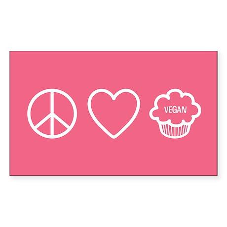 Peace, Love & Vegan Cupcakes Sticker (Rectangl