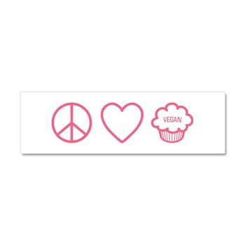 Peace, Love & Vegan Cupcakes Car Magnet 10 x 3