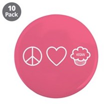 "Peace, Love & Vegan Cupcakes 3.5"" Button"