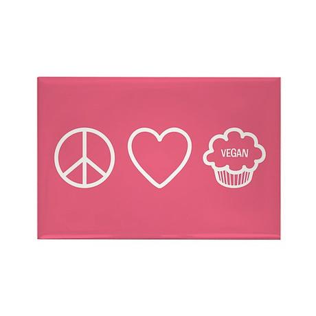 Peace, Love & Vegan Cupcakes Rectangle Magnet