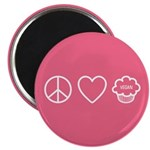 "Peace, Love & Vegan Cupcakes 2.25"" Magnet"