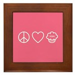 Peace, Love & Vegan Cupcakes Framed Tile