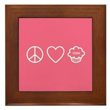 Peace, Love & Vegan Cupcakes Framed Tile