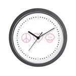 Peace, Love & Vegan Cupcakes Wall Clock