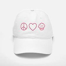 Peace, Love & Vegan Cupcakes Baseball Baseball Cap