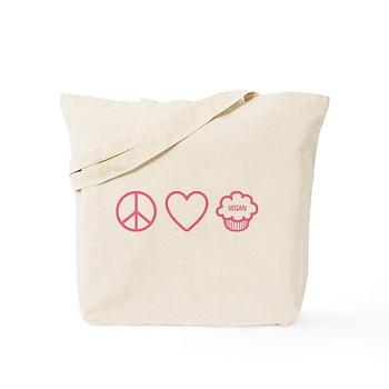 Peace, Love & Vegan Cupcakes Tote Bag