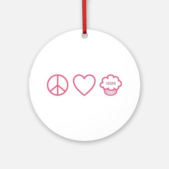 Peace, Love & Vegan Cupcakes Ornament (Round)
