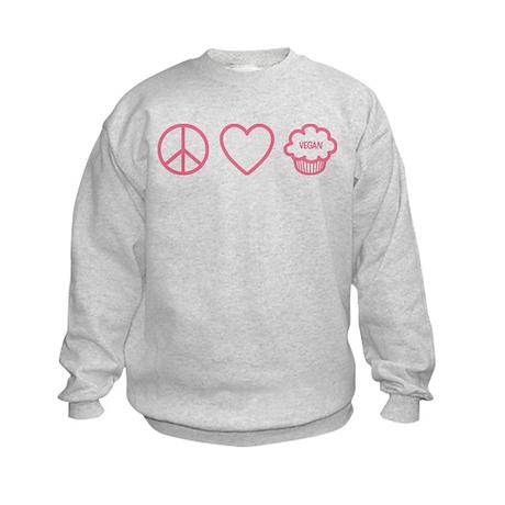 Peace, Love & Vegan Cupcakes Kids Sweatshirt