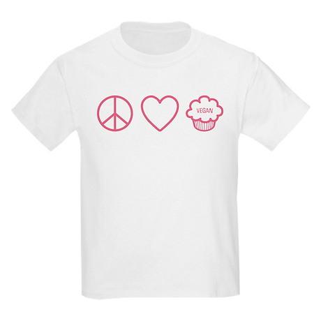 Peace, Love & Vegan Cupcakes Kids Light T-Shirt