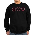 Peace, Love & Vegan Cupcakes Sweatshirt (dark)