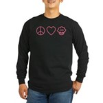 Peace, Love & Vegan Cupcakes Long Sleeve Dark T-Sh