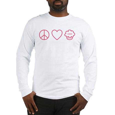 Peace, Love & Vegan Cupcakes Long Sleeve T-Shirt