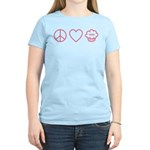 Peace, Love & Vegan Cupcakes Women's Light T-Shirt