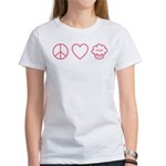 Peace, Love & Vegan Cupcakes Women's T-Shirt