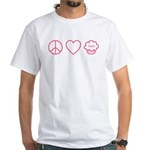 Peace, Love & Vegan Cupcakes White T-Shirt