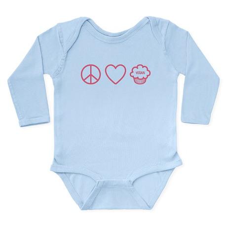 Peace, Love & Vegan Cupcakes Long Sleeve Infant Bo