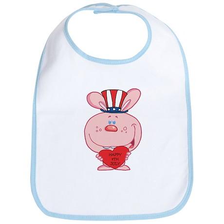 Pink Rabbit Happy 4th July Bib