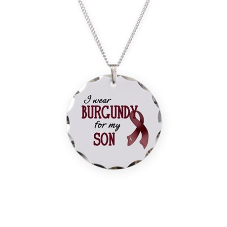 Wear Burgundy - Son Necklace Circle Charm