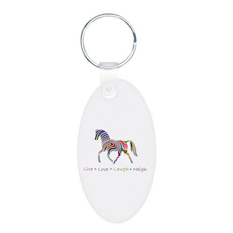 Rainbow pony Aluminum Oval Keychain